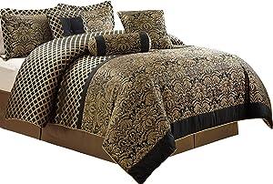 Chezmoi Collection Lisbon 7-Piece Jacquard Floral Comforter Set, Queen, Black/Gold