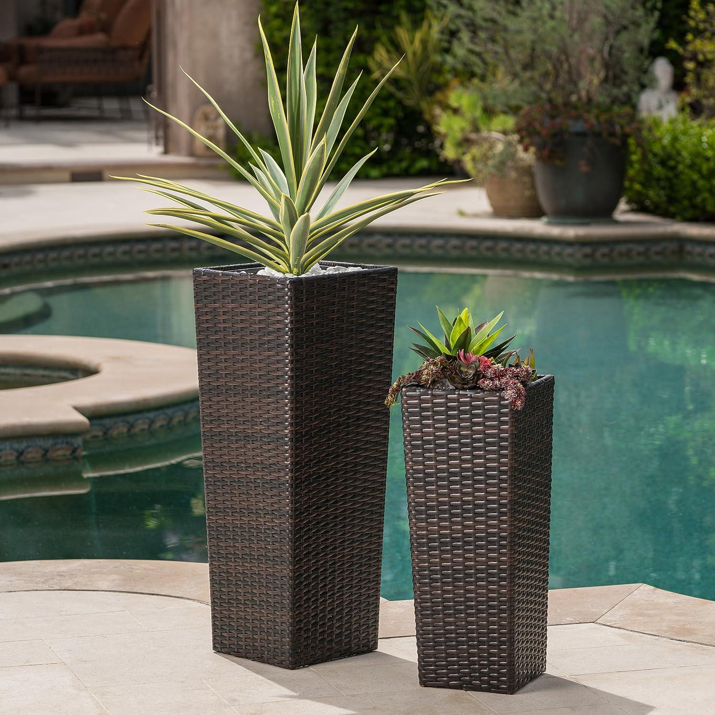Amazon.com & Eden Outdoor Wicker Flower Pots (Set of 2) (MultiBrown)