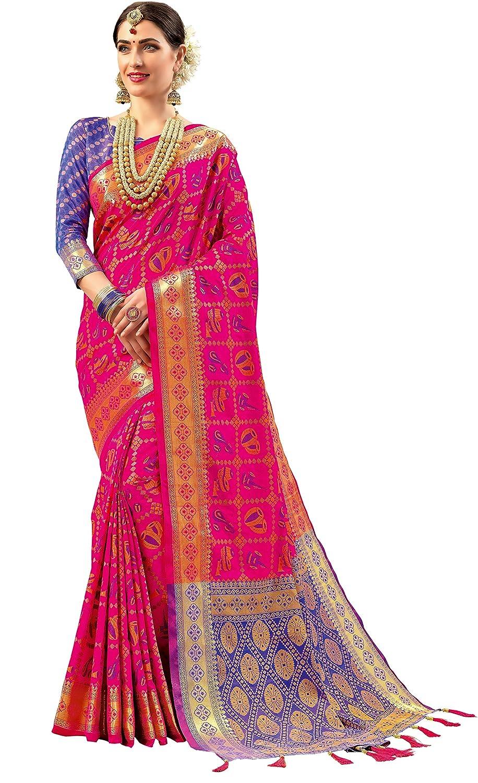 Double Ikat Vibrant Patola Woven Art Silk Saree