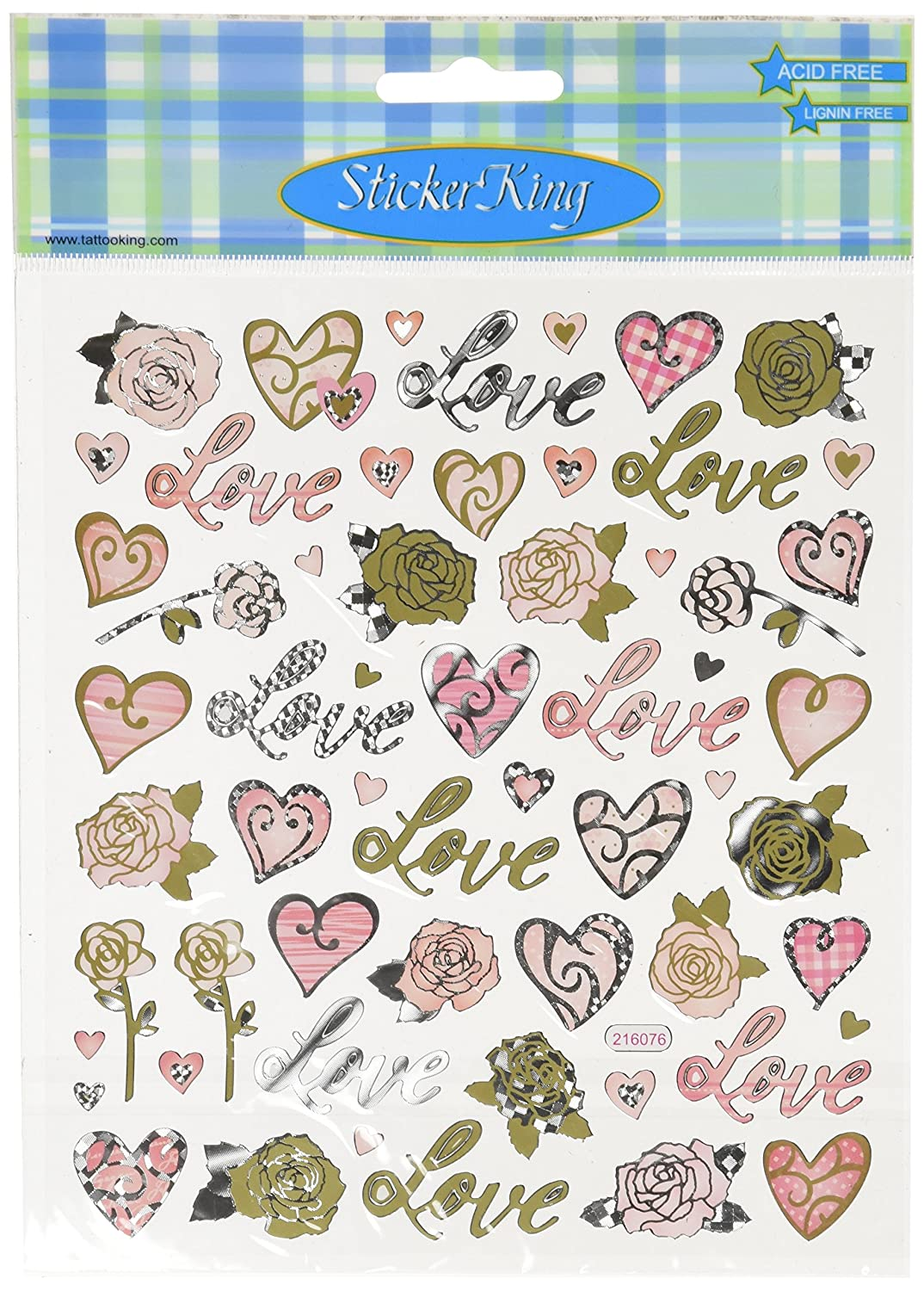 In Network SK129MC-4198 Tattoo King Multi-Colored Stickers-Love /& Roses Notions