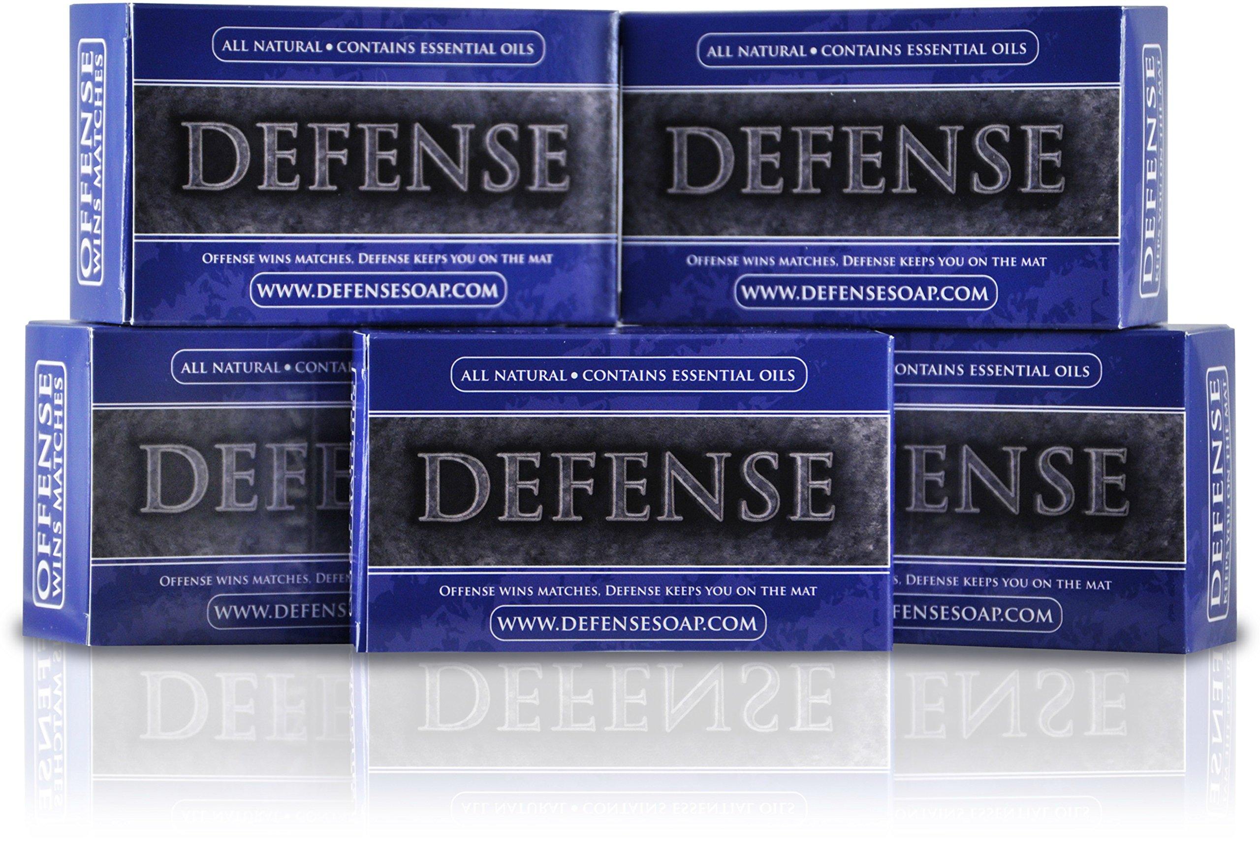 Defense Soap 4 Ounce Bar (Pack of 5) - 100 Percent Natural Pharmaceutical Grade Tea Tree Oil and Eucalyptus Oil