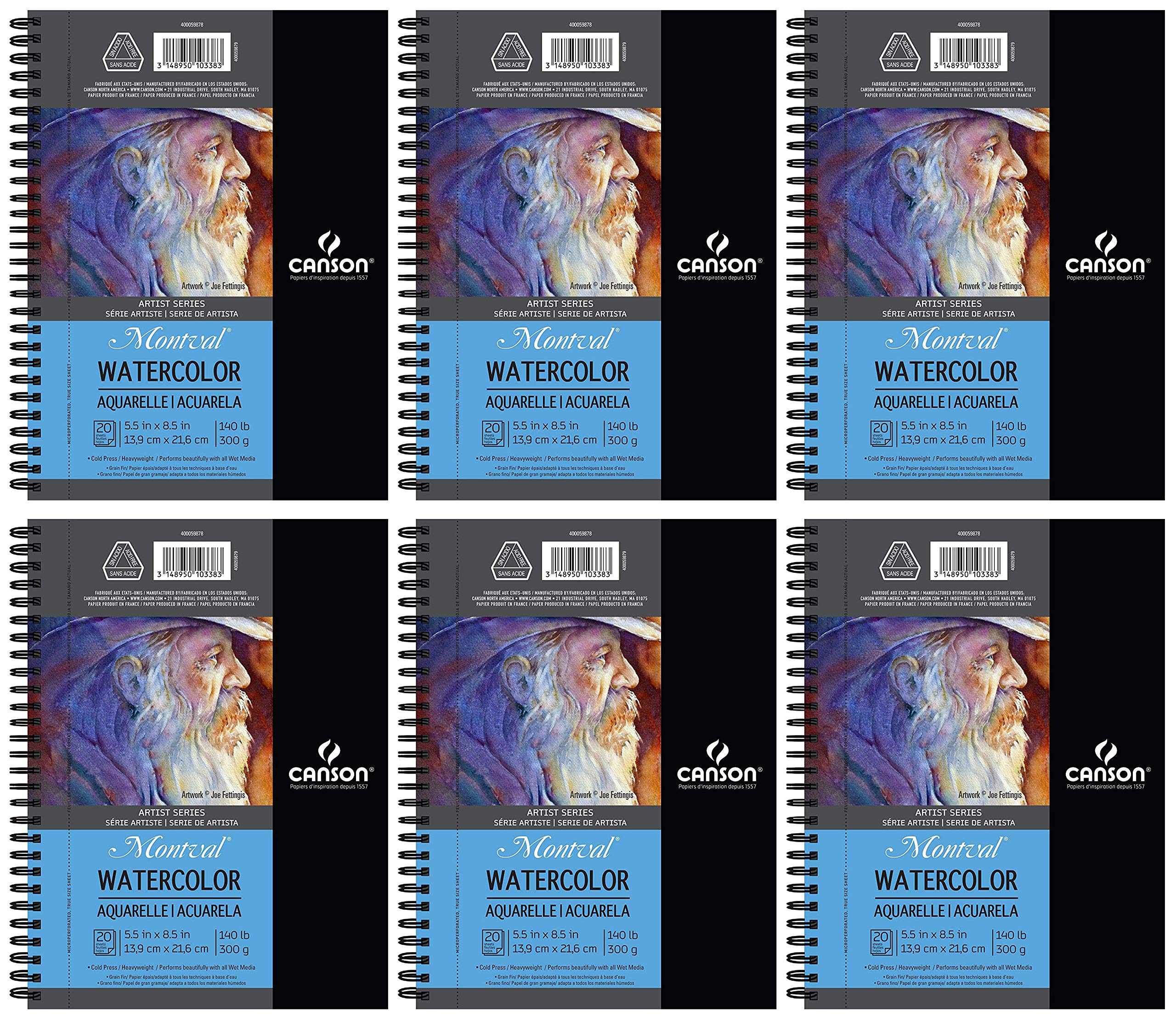 6-Pack Case - Canson Artist Series Watercolor Pad, 5.5'' x 8.5'' Side Wire