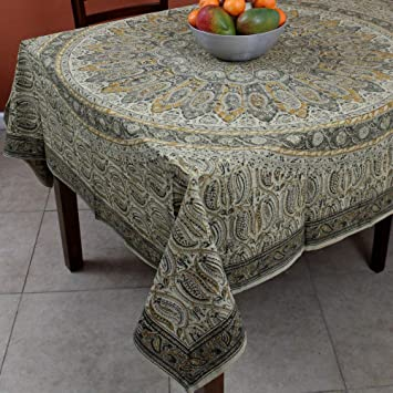 Delightful Floral Tablecloth Block Print 100% Cotton Vegetable Dye 60u0026quot; X 60u0026quot;  Square Green