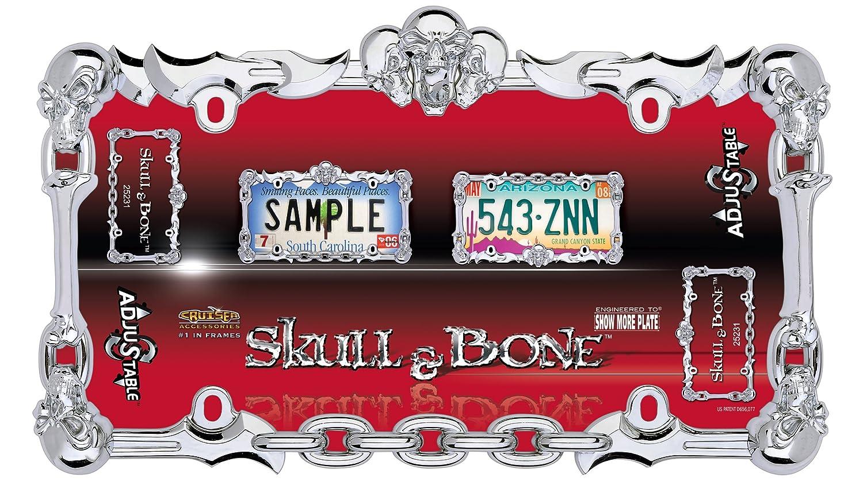 Chrome Cruiser Accessories 25231 Skull /& Bone License Plate Frame