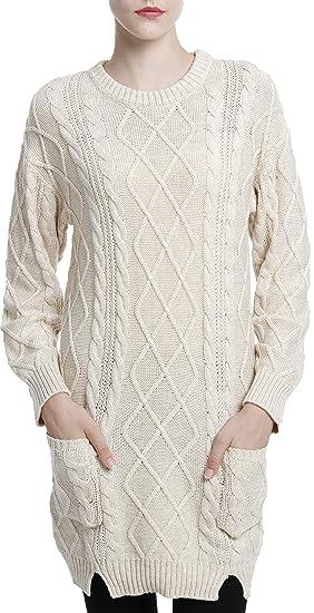 LinyXin Cashmere Damen Winter Kaschmir Pullover Kleid Langarm Rundhalsausschnitt aus Wolle Kleid Gestrickter Sweater Pullover