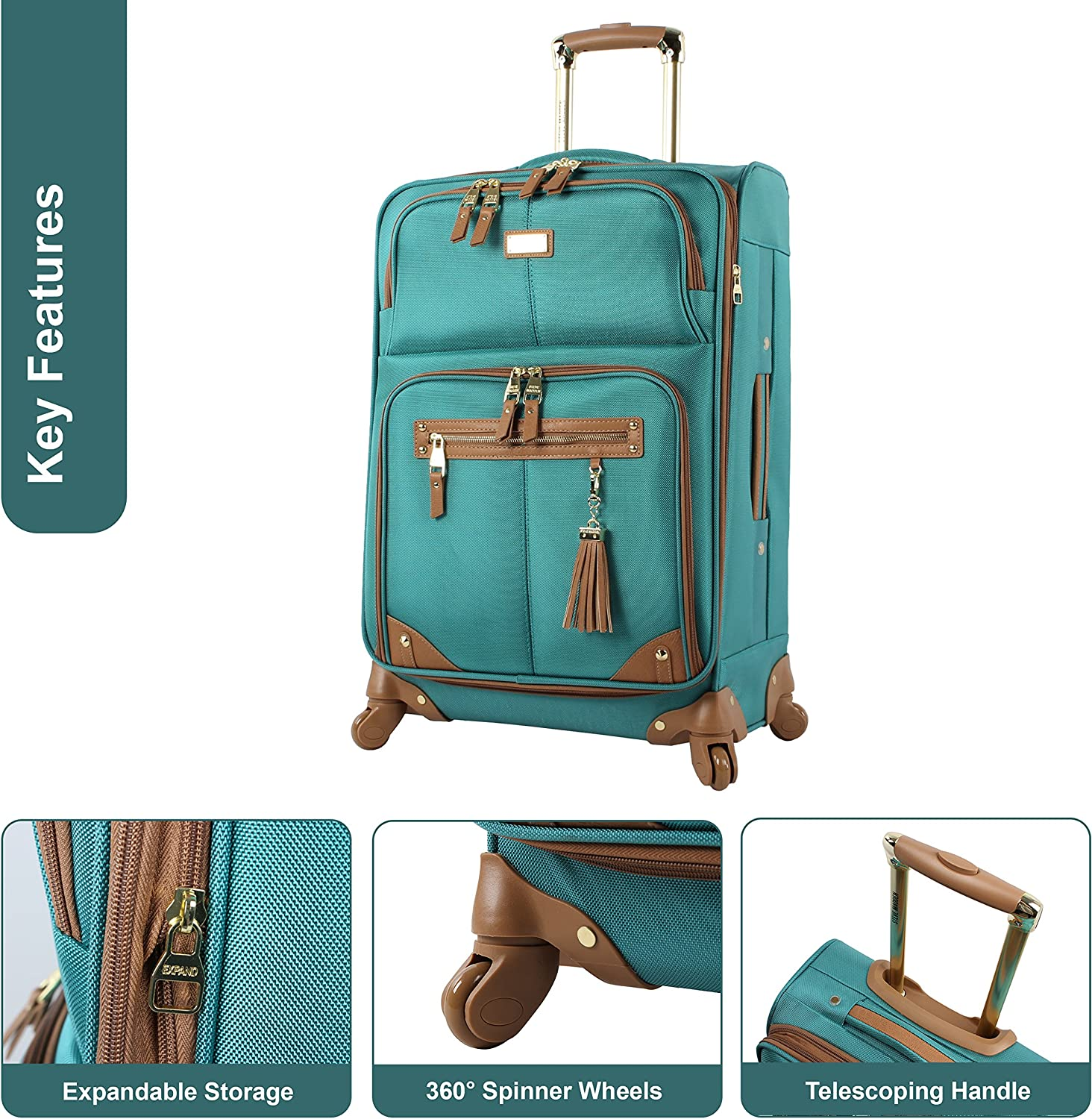 Lightweight 24 Inch Expandable Softside Suitcase Mid-size Rolling 4-Spinner Wheels Checked Bag Peek A Boo Gray, 24in Steve Madden Designer Luggage Collection