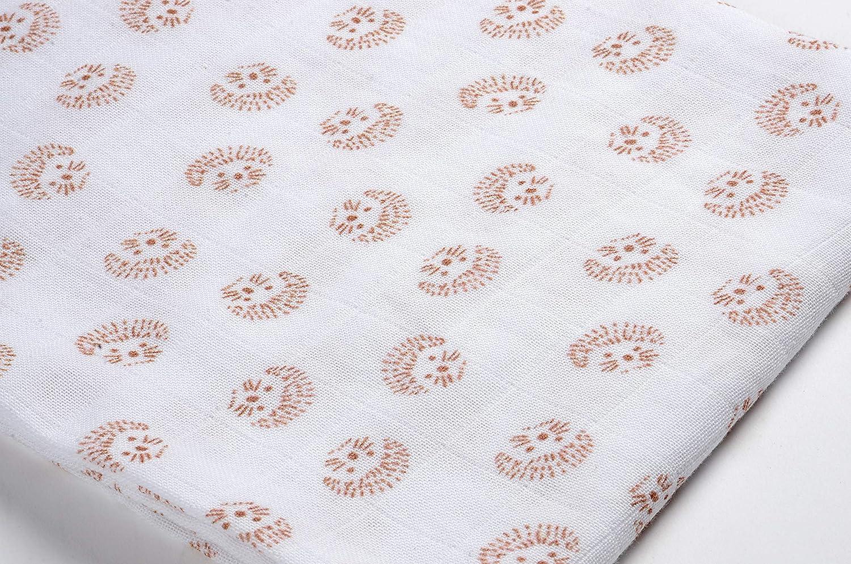 Couverture nomade Motif H/érisson Bavoir Mousseline de Coton Biologique Ultra doux Doudou Lot de 3 Langes B/éb/é 70x70 B/ÉABA Ecologique et Sain Respirant Multi-usages : Couverture emmaillotage
