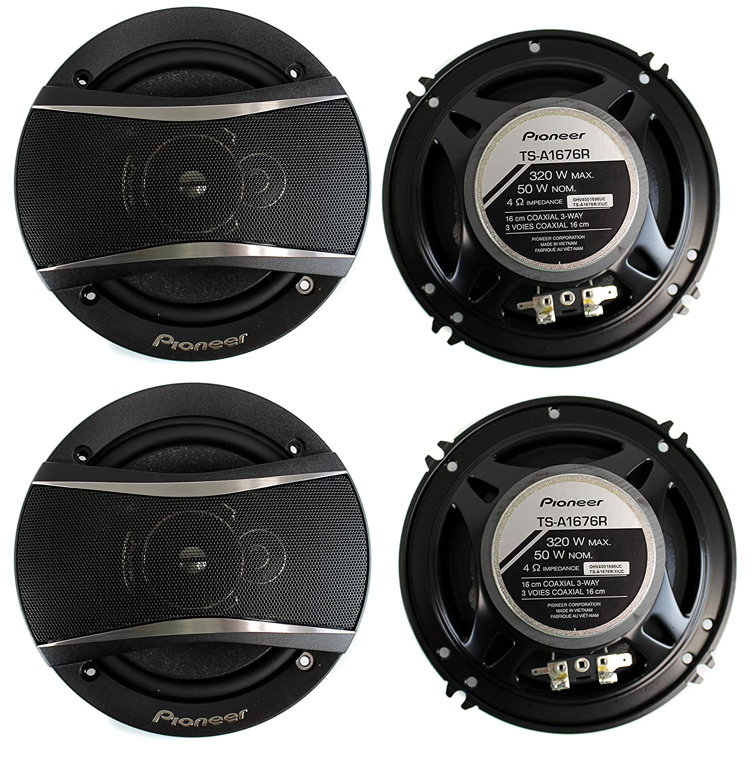 4 Pioneer 65 Inch 3 Way 640 Watt Car Coaxial Stereo Audio Speakers Four Ts A1676r Cell Phones Accessories
