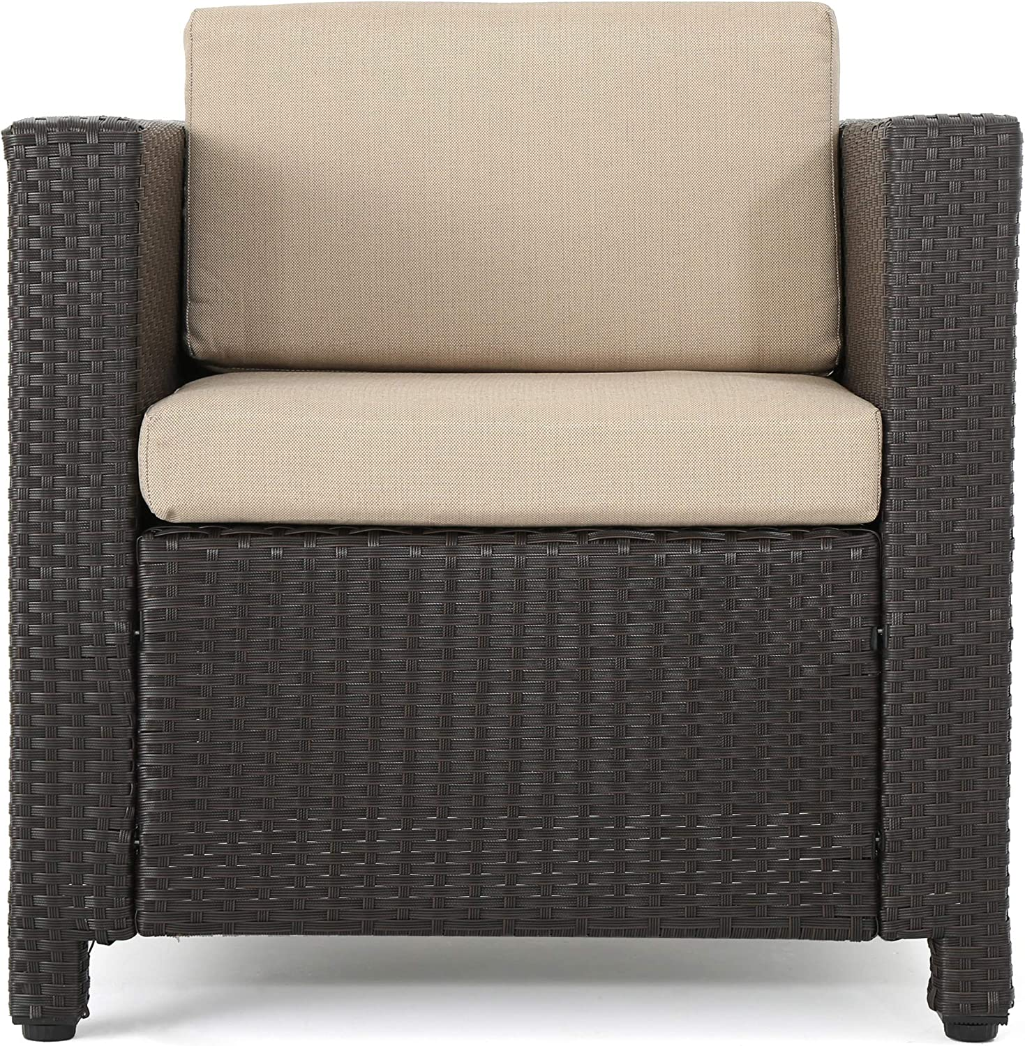 Christopher Knight Home Puerta Outdoor Wicker Club Chair with Water Resistant Cushions, Dark Brown / Beige