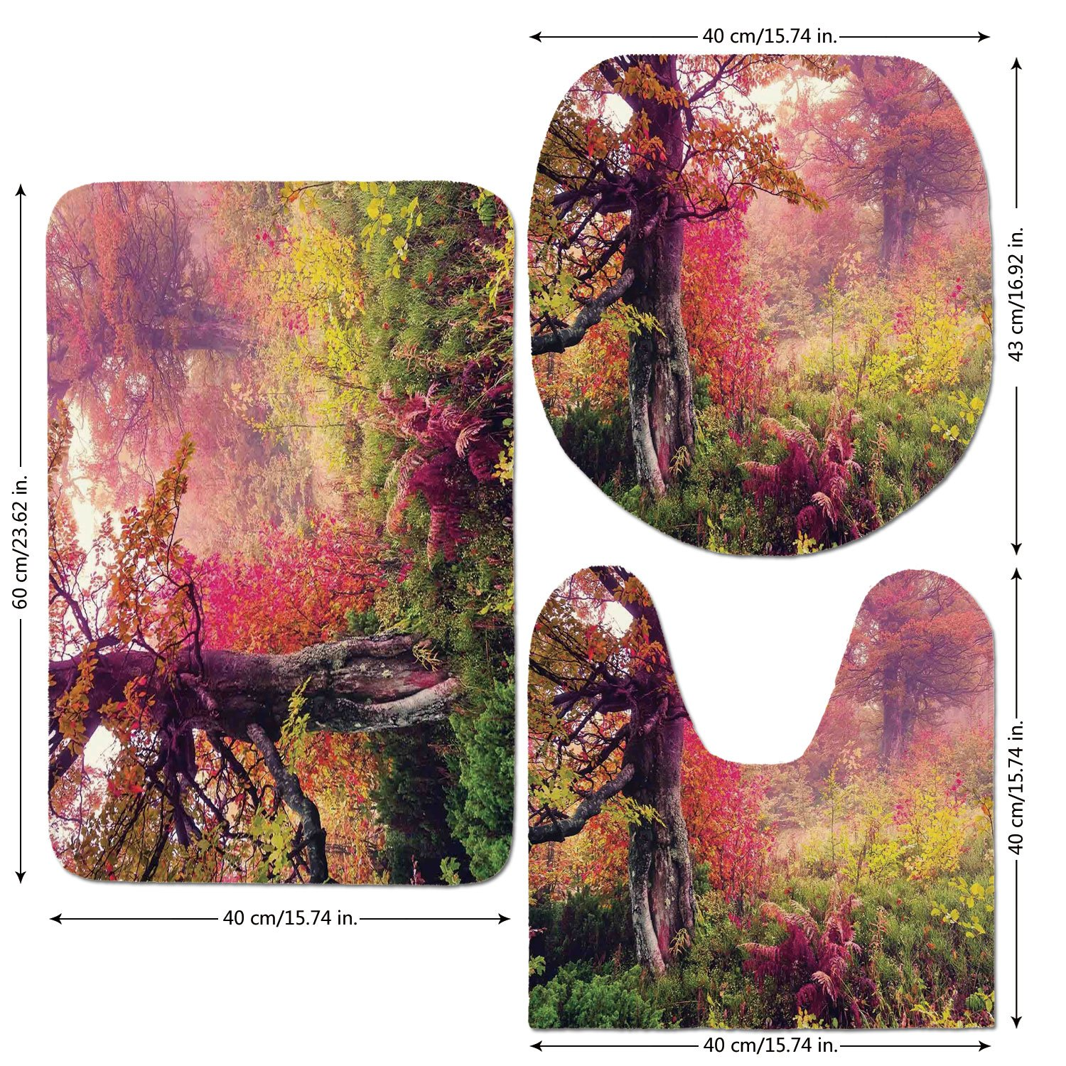 3 Piece Bathroom Mat Set,Farm-House-Decor,Fairy-Majestic-Landscape-with-Autumn-Trees-in-Forest-Natural-Garden-in-Ukraine,Red-Green-Brown.jpg,Bath Mat,Bathroom Carpet Rug,Non-Slip