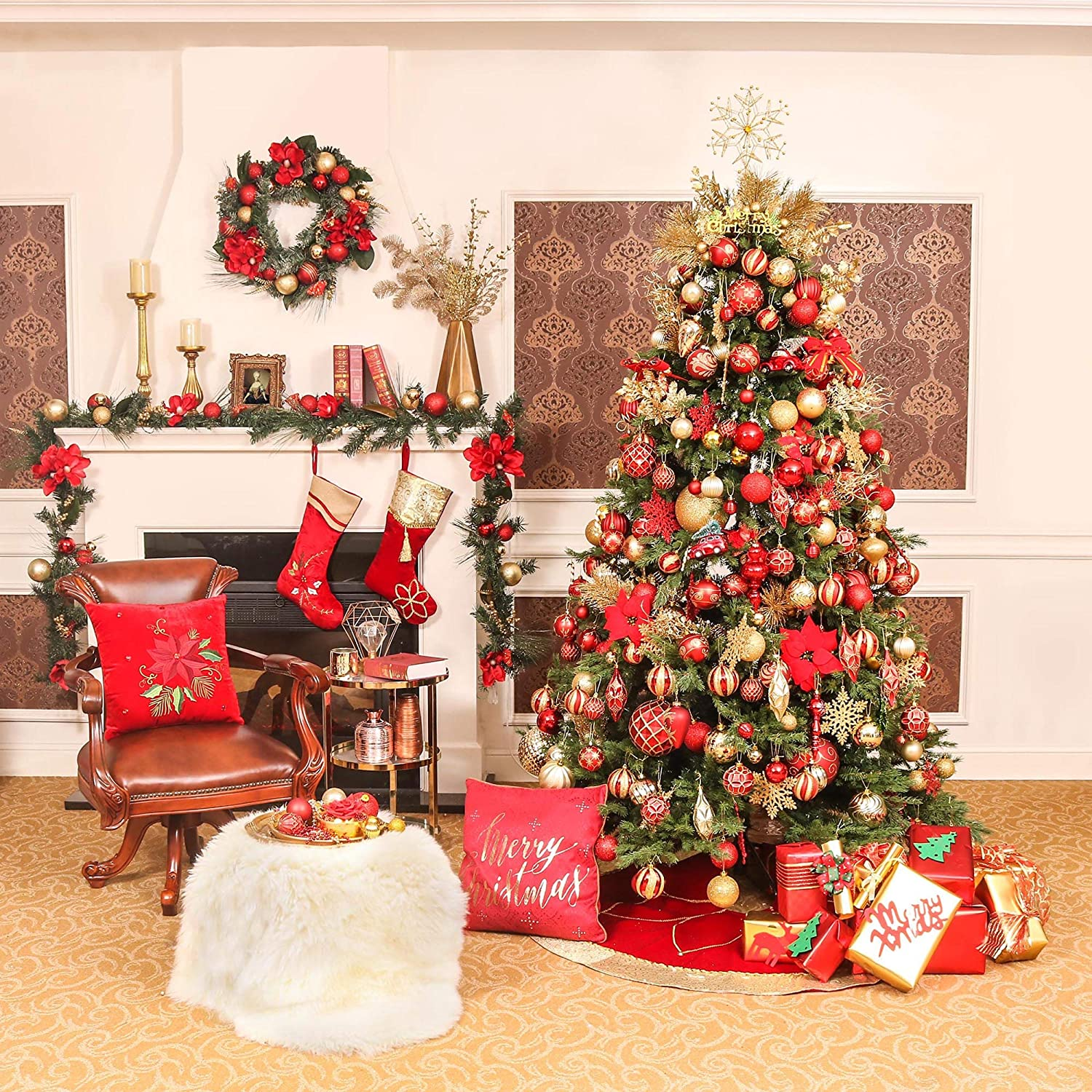 Valery Madelyn 24ct 60mm Luxury Red and Gold Shatterproof Christmas Ball Ornaments Decoration Themed with Tree Skirt Not Included