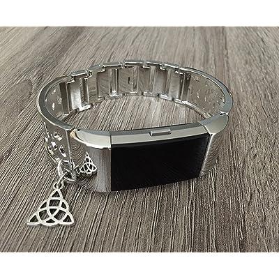 Métal Argenté Band pour Fitbit Charge 2tracker de fitness Motif de fleurs Bijoux Fitbit Charge 2faite à la main de remplacement accessoire Bracelet avec pendentif Nœud celtique Argent Ta
