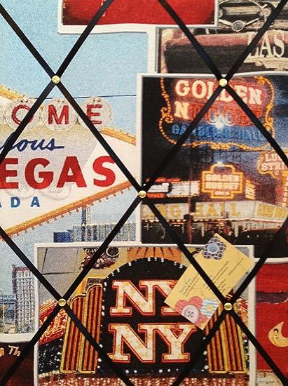 Rosey Rose Medium 40x30cm Las Vegas American Casino Print Hand Crafted Fabric Notice//Pin//Memo//Memory Board