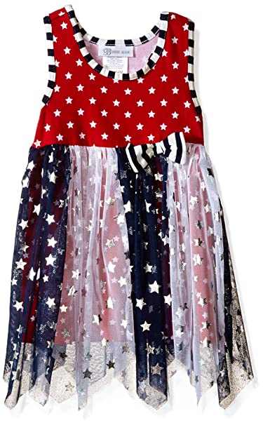 038f7ce28b87 Bonnie Jean Little Girls  Toddler Knit Racerback to Spangeled Paneled Mesh  Dress