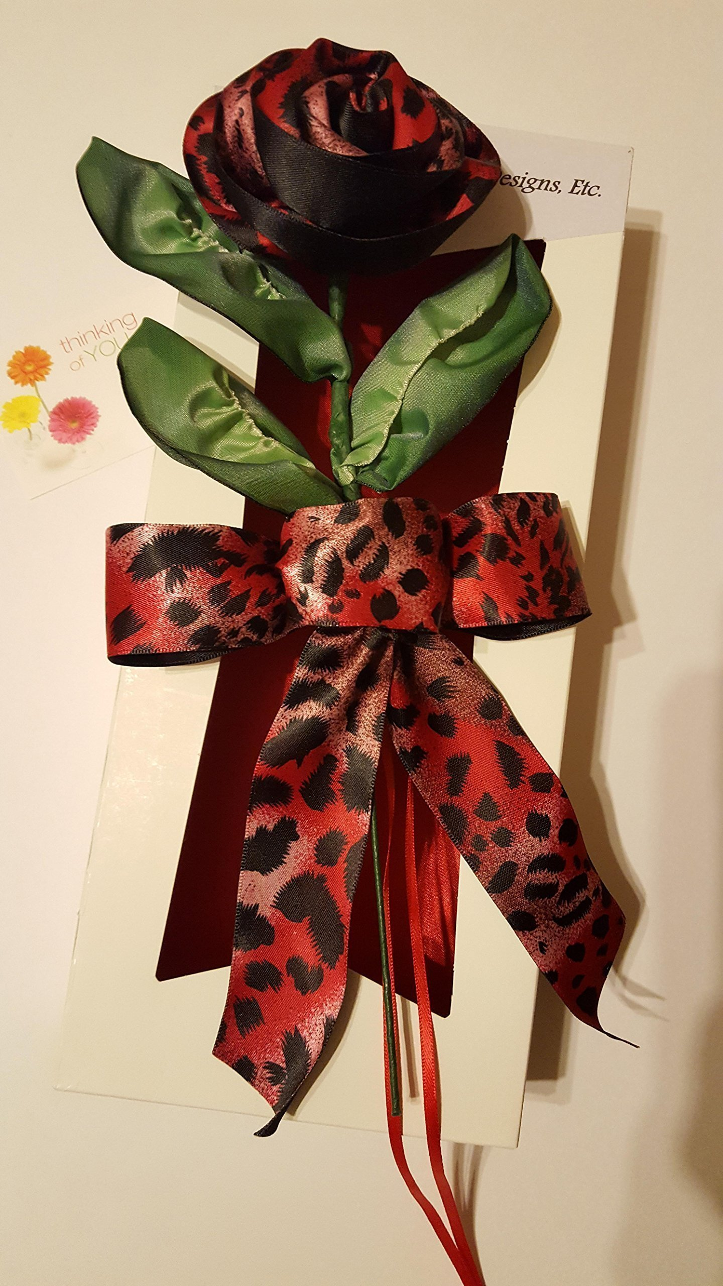 Handmade Stemmed Red and Black Satin Animal Print Ribbon Rose