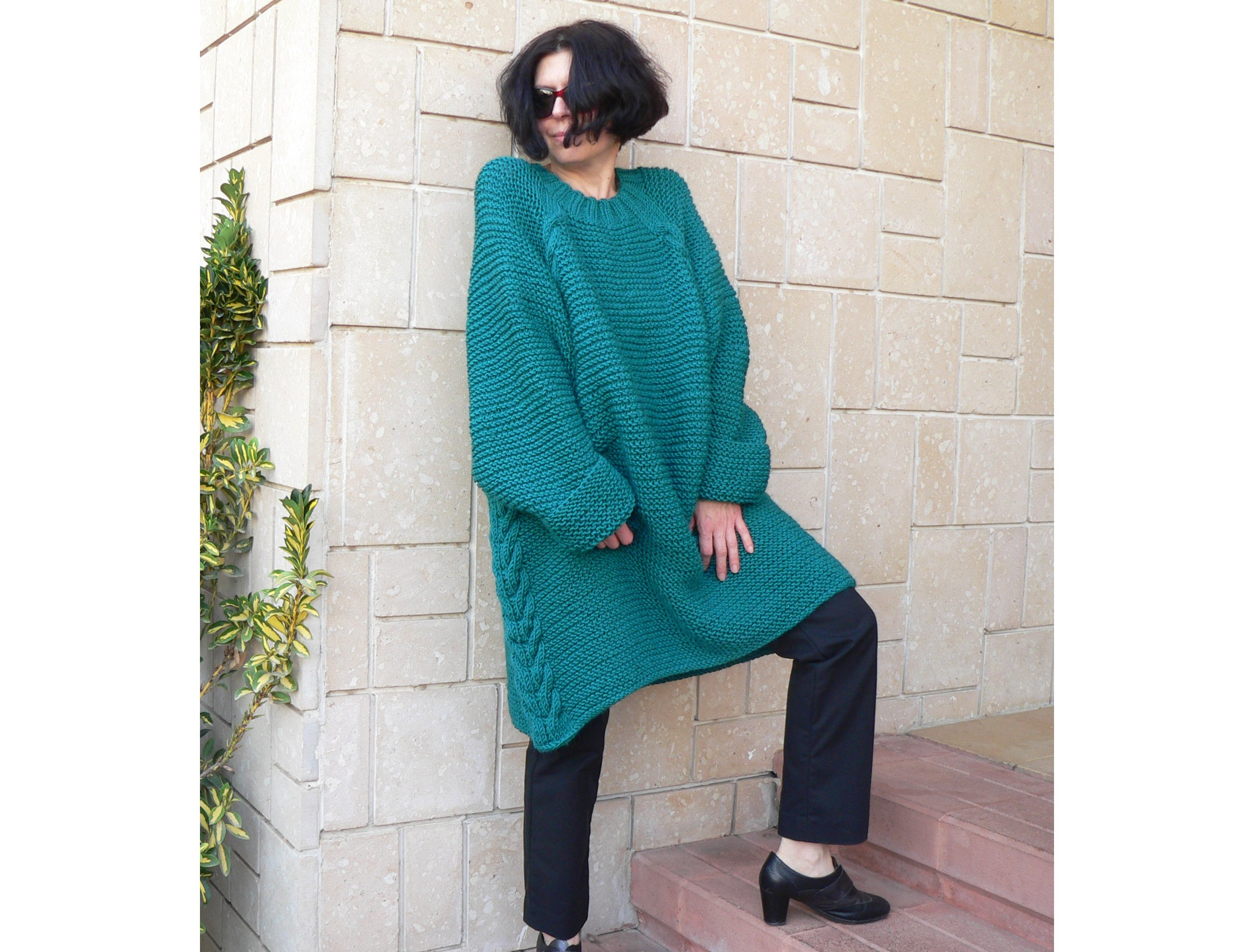 Women teal alpaca sweater