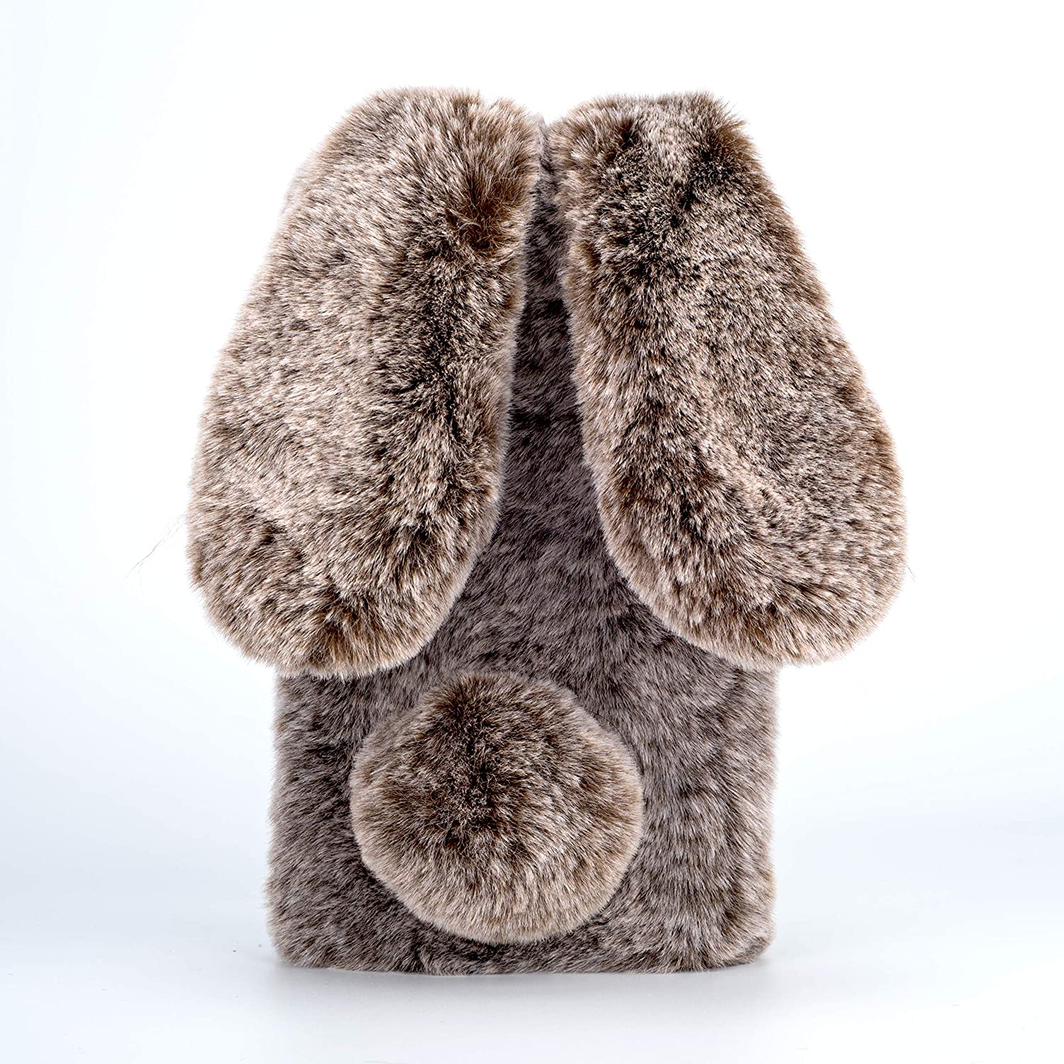 Amocase for iPhone 6S Plus Faux Furry Case with 2 in 1 Stylus,Luxury Bling Diamond 3D Bowknot Cute Warm Black Bunny Rabbit Fuzzy Fluffy Plush Soft Fur Silicone Case for iPhone 6 Plus//6S Plus 5.5