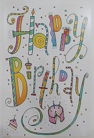 Amazon.com: Classic colorido feliz cumpleaños tarjeta de ...