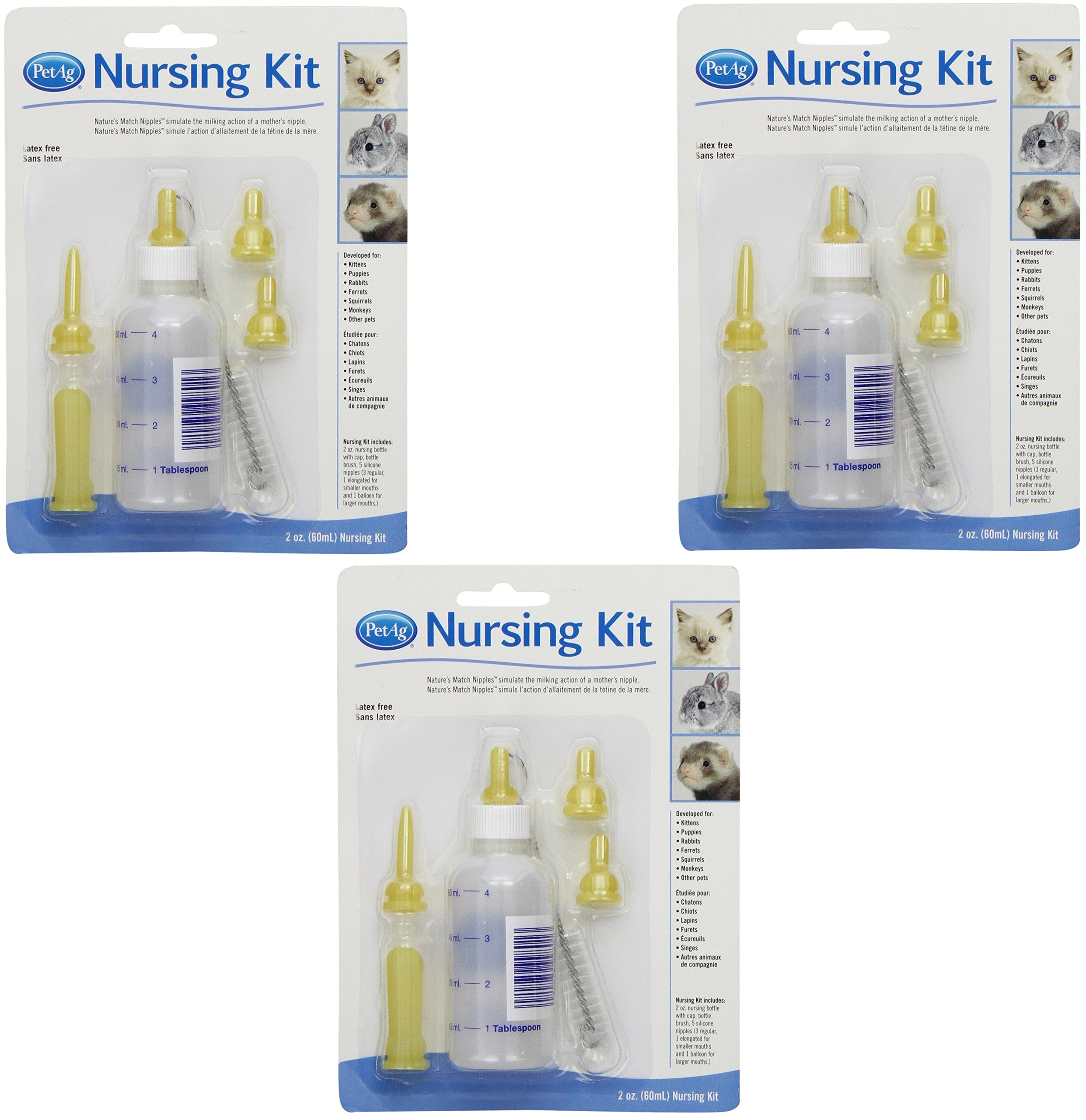 (3 Pack) PetAg Complete Nursing Kits With Replacement Nipples for Kittens or Small Animals