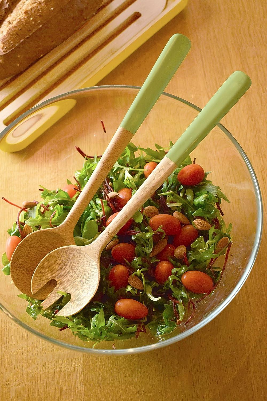 Green Pistachio Pebbly nba106/Bamboo Salad Servers 31/x 10/x 5/cm