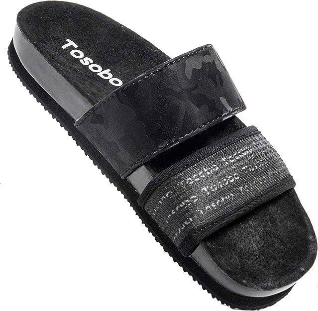 Mens Womens Sandals Open Toe Flat Footbed Slides Mules Ladies Flip Flops Comfy Cork Sandal Buckle Summer Holiday Slippers Slip On Black White Brown Size 3-12 UK