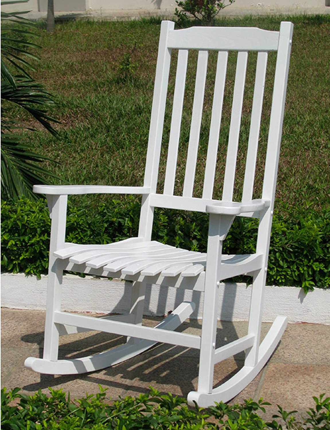 Amazon.com : Merry Garden   White Porch Rocker/Rocking Chair Acacia Wood :  Patio Rocking Chairs : Garden U0026 Outdoor