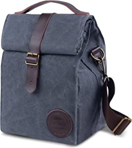 Insulated Waxed Canvas Lunch Bag by ASEBBO, 7L Lunch Box for Women,Men with Genuine Leather Handle & Strong Buckle-Closure to Keep Your Food Cool Lunch Tote, Adjustable Strap (Dark Grey 2.0 IMPROVED)
