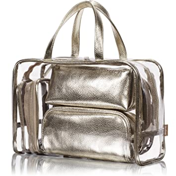 2940ae709327 NiceEbag 5 in 1 Cosmetic Bag & Case Portable Carry on Travel Toiletry Bag  Clear PVC Makeup Train...