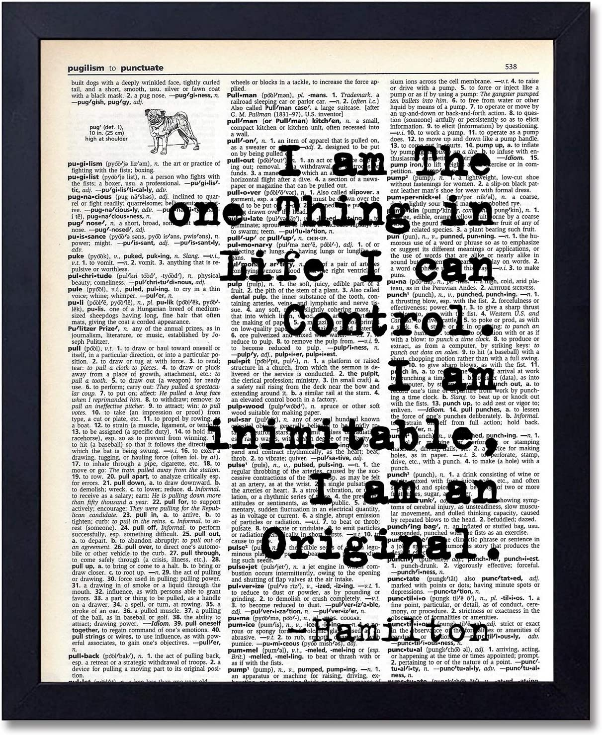 akeke Motivational Inspirational Hamilton Quote Wall Art Decor Dictionary Print, Home Decoration Poster for Bedroom, Office, Gift for History Fans, Unframed 8x10 inches