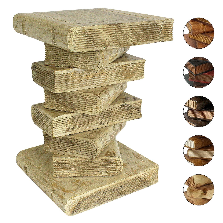 Amazonde Bcherhocker Nachttisch Beistelltisch Hocker Buch Stapel Podest Deko Ca 50 Cm Holz Creme