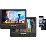 """Koramzi Portable 9"""" Dual Screen Dual DVD Player W Rechargeable Battery/ AC Adapter/ AV In/ USB &SD Card Reader/ Remote Control/ Car Adapter/ IR Transmitter Ready/ USB /Headrest Mounting Kit"""