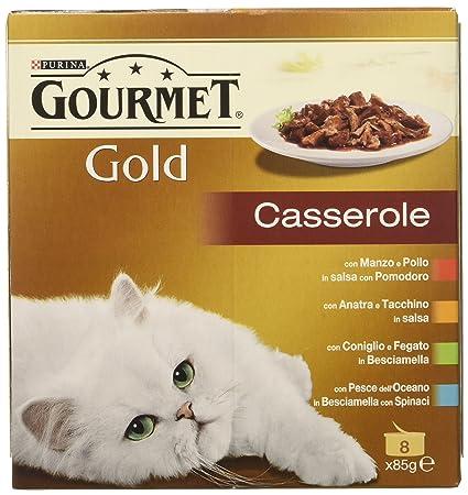 Gourmet Gold Casserole para el Gato, con Manzo Y Pollo, Pato y Pavo, Conejo y Fegato, Pescado Océano, 85 g - Pack de 8 Unidades: Amazon.es: Productos para ...