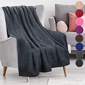 Plush Sherpa Throw Blanket for Couch Sofa, Fuzzy Fleece All Season Throw, Lightweight Warm Decorative TV Blankets | 50 x 60 Inches Black