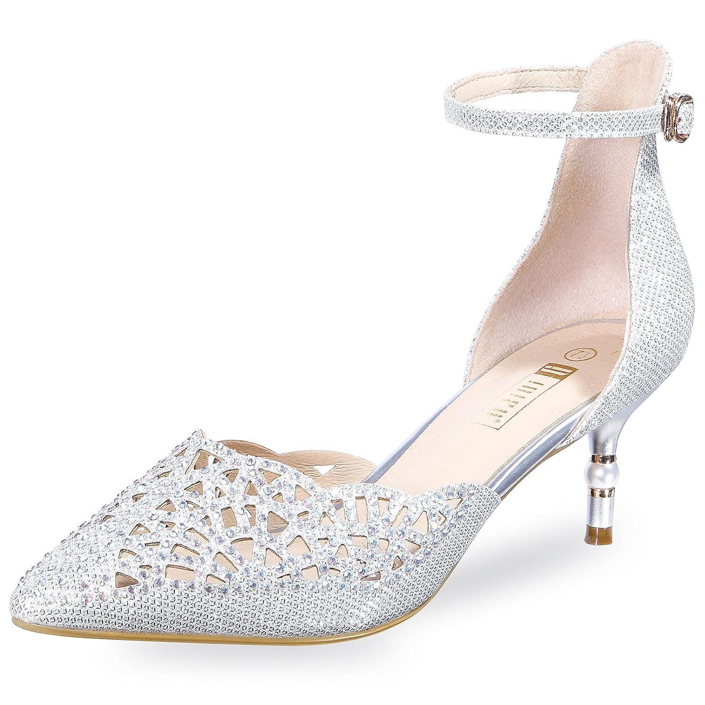 206c4a729aa5d IDIFU Women's IN2 Candice Rhinestones Sequins Mid Heels Stiletto Kitten  Heels Wedding Pump Bridal Shoes