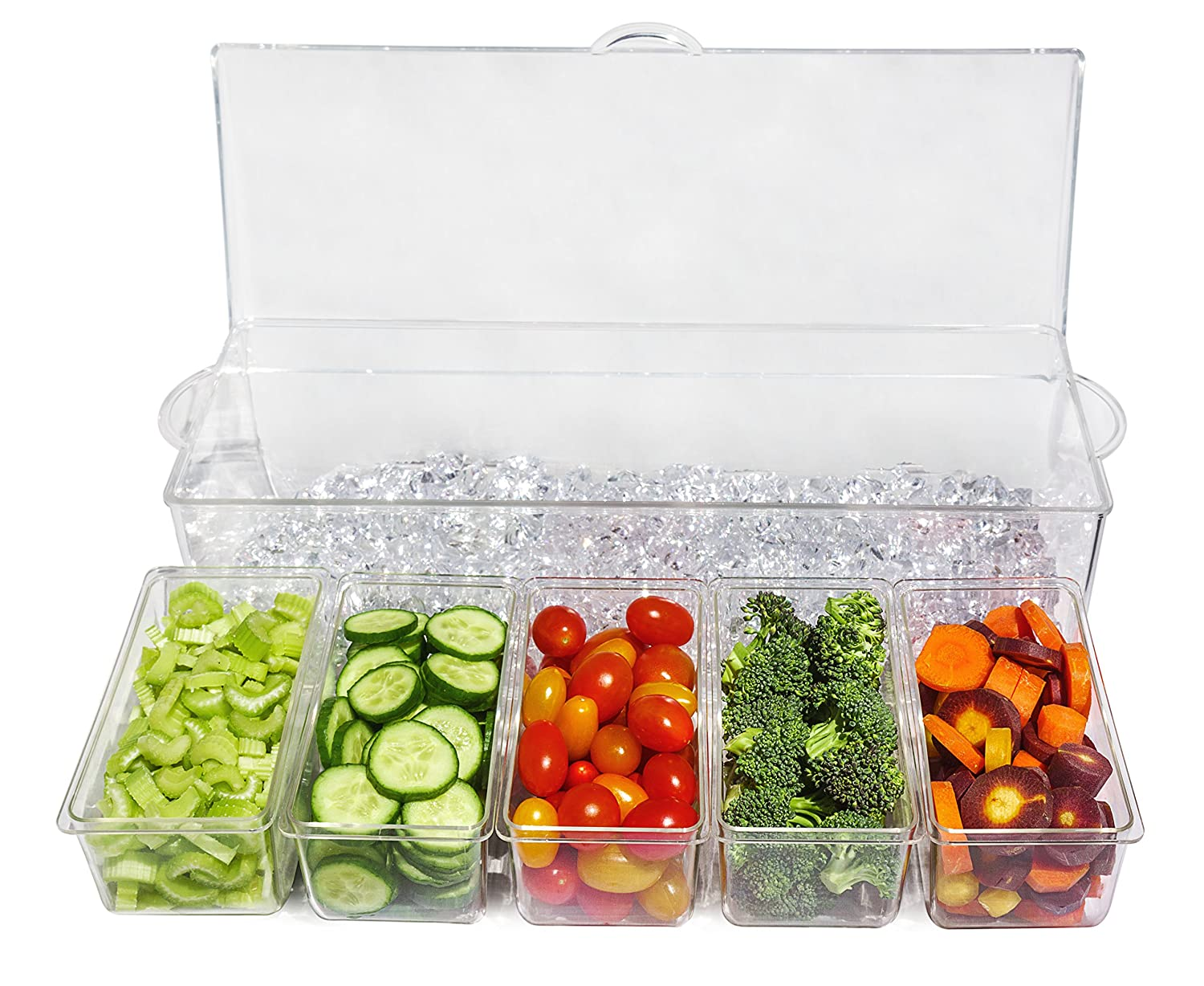 Serving Tray Container with 5 Removable Dishes with over 2 Cup Capacity Each and Hinged Lid 3 Serving Spoons Ice Chilled 5 Compartment Condiment Server Caddy 3 Tongs Included Elegant Events