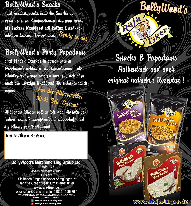 4x BollyWoods Snack Cornflakes Mix Dulce y Picante por Raja Tiger, 175 Gramm, Auténtico según la receta original de la India - El nuevo Bolly Crisps Snack ...
