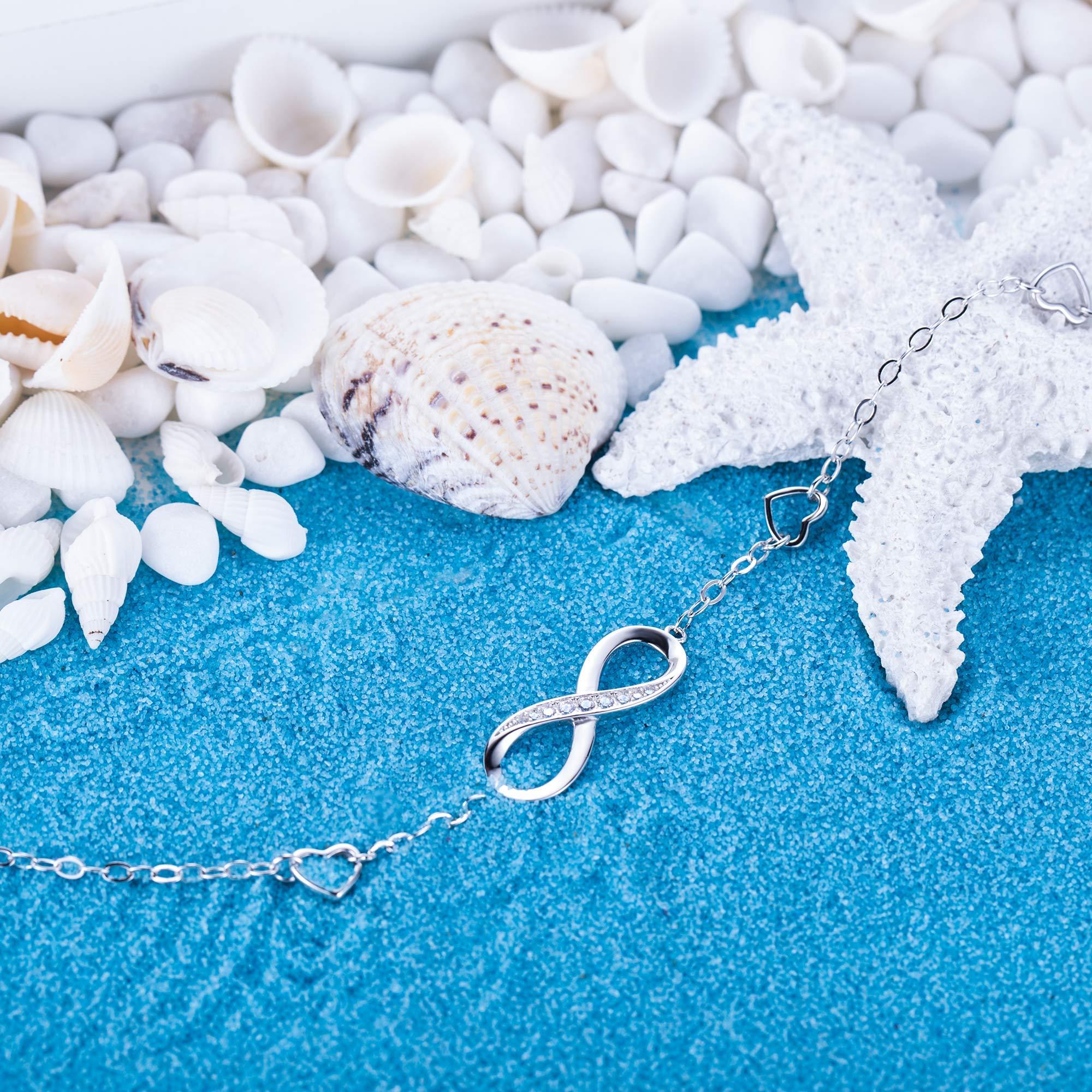 Billie Bijoux Womens 925 Sterling Silver Infinity Endless Love Symbol Charm Adjustable Anklet Bracelet, Large Bracelet, Gift for Mother's Day (A- Silver) by Billie Bijoux (Image #6)