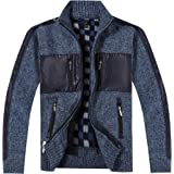 Gioberti Kids and Boys Full Zip Cardigan Patch Design Sweater with Brushed Flannel Lining