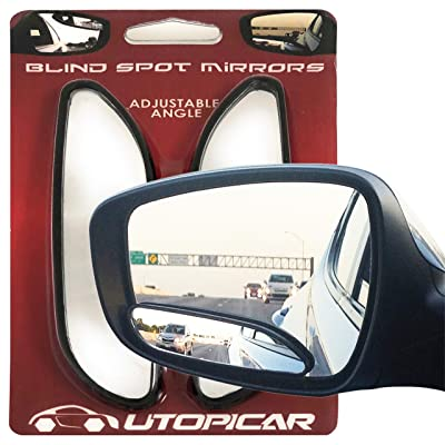 Blind Spot Mirrors. long design Car Mirror for blind side by Utopicar for traffic safety. Door mirrors for great rear view! [stick-on] (2 pack): Automotive