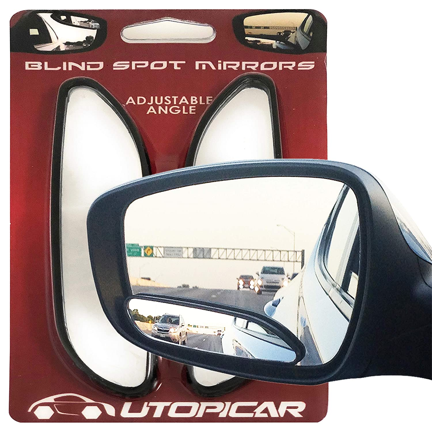 2 pack long design Car Mirror for blind side by Utopicar for traffic safety stick-on Blind Spot Mirrors Door mirrors for great rear view!
