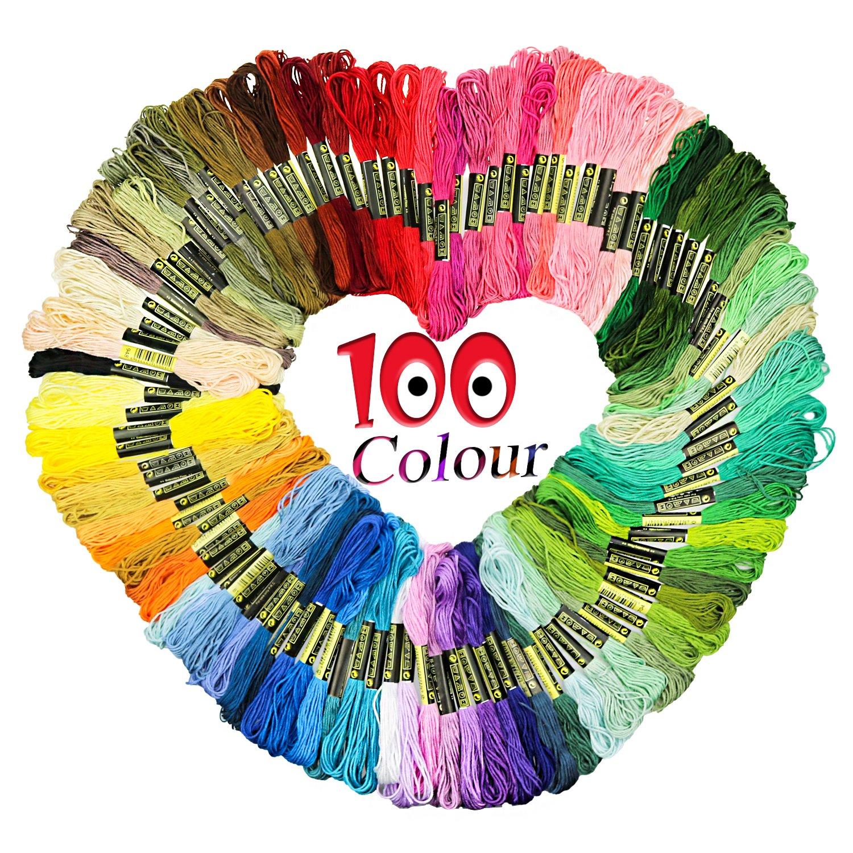 Homder Embroidery Thread Friendship Bracelet String - 100 Skeins Premium Rainbow Color Embroidery Floss, Crafts Floss, 100%Cotton 100%Cotton 4336932222