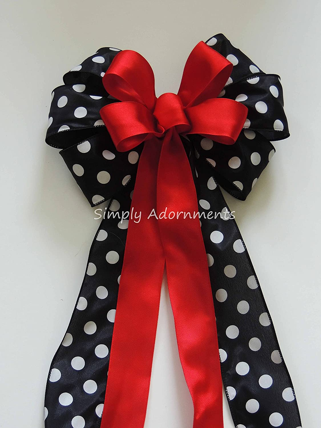 Red Black Birthday Party Decor Red Black White Polka dots Party Decoration Christmas Wreath Bow Christmas Door Hanger Bow Christmas Swag Bow Red Black Ladybug themed decor Red Black Christmas Bow