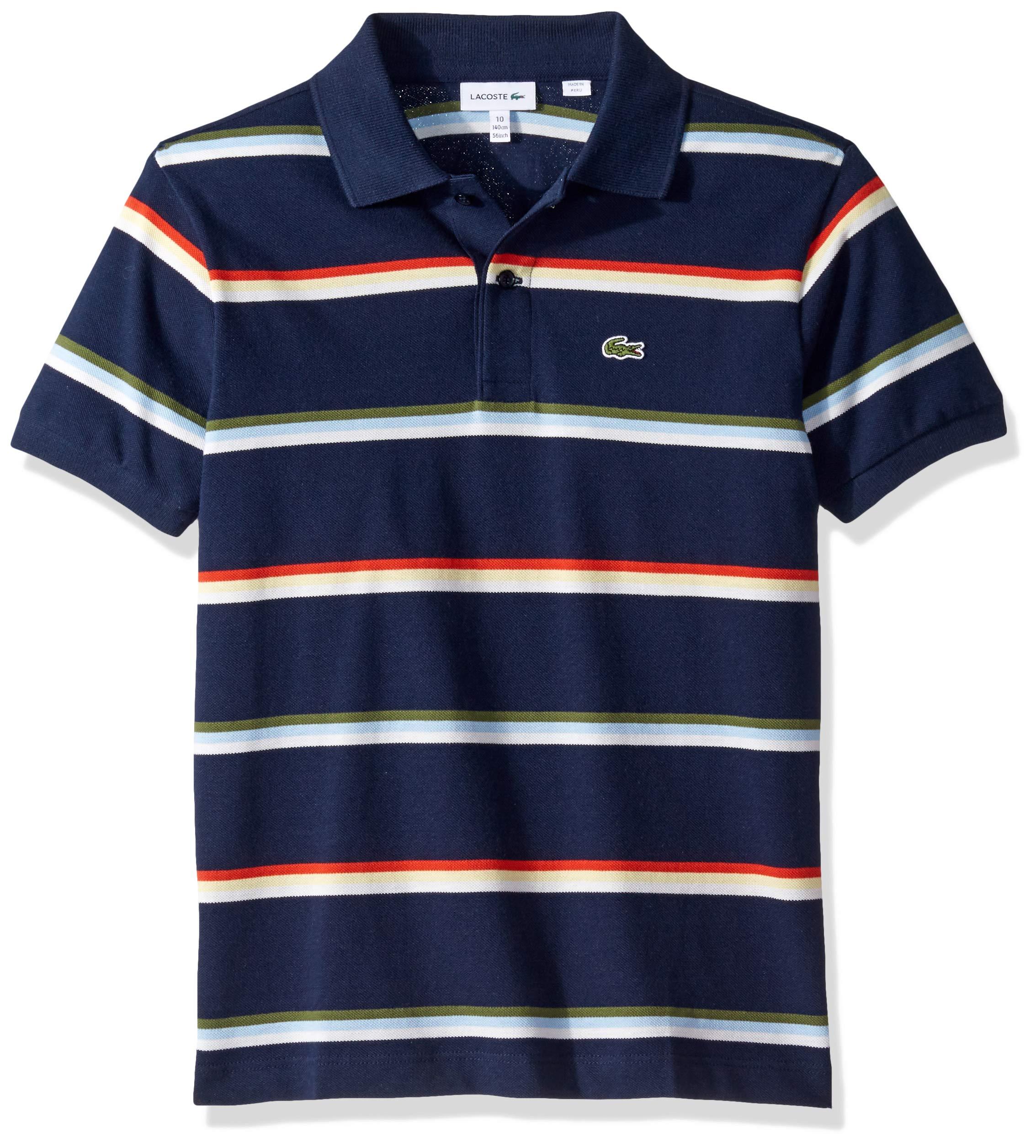 Lacoste Big BOY Summer Lover Striped Pique Polo, Navy Blue/Multi 14YR