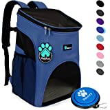 PetAmi Premium Pet Carrier Backpack for Small Cats and Dogs | Ventilated Design, Safety Strap, Buckle Support | Designed for Travel, Hiking & Outdoor Use (Royal Blue)