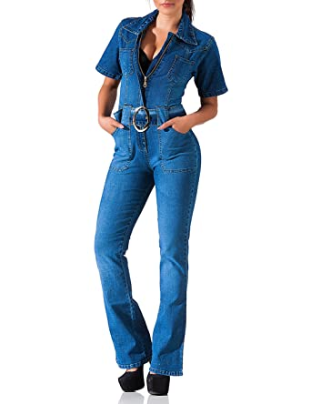db4bd7e658d 24brands Women jeans jumpsuit with flared leg summer Boot Cut one-piece suit  short sleeves with belt - 3085