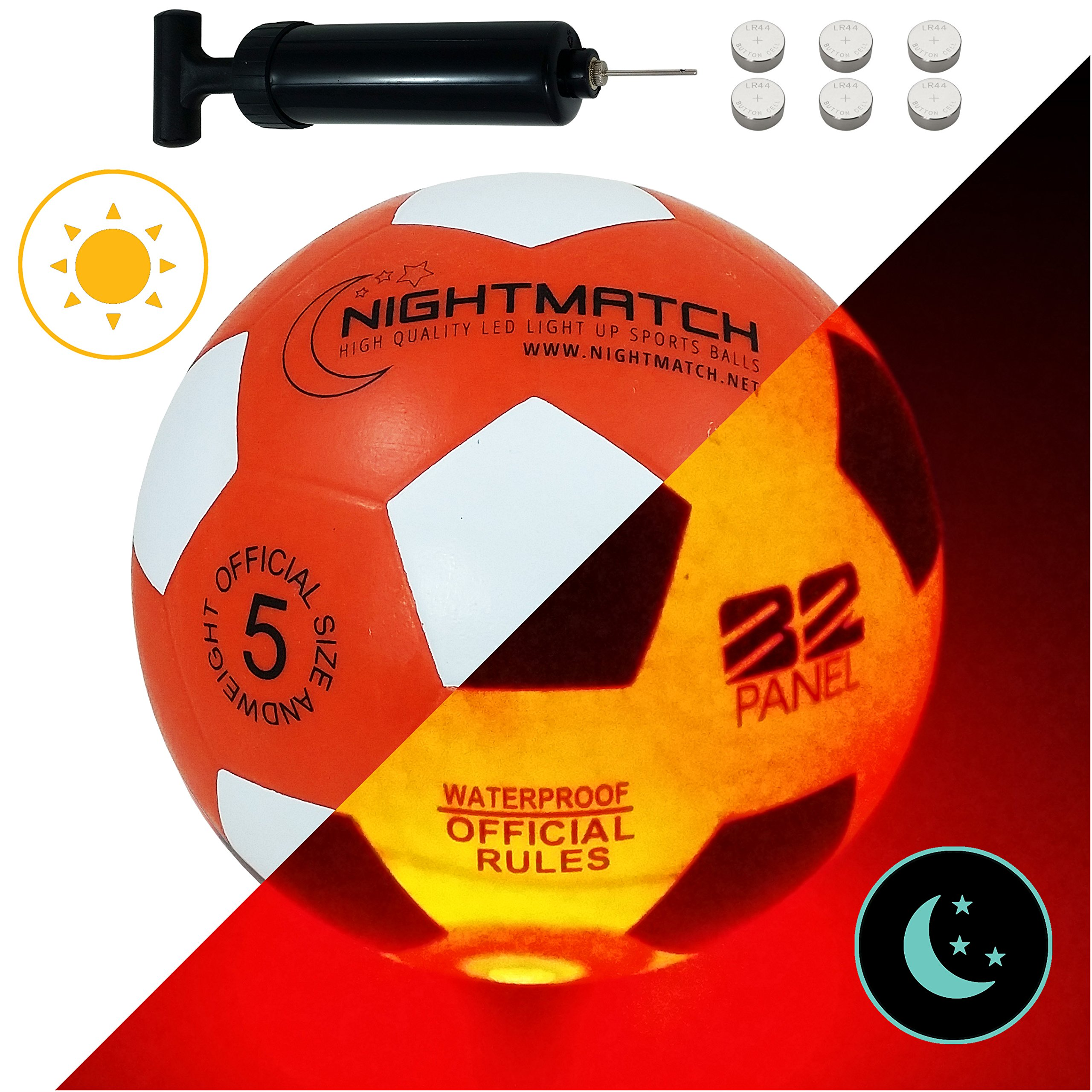 NightMatch Light Up Soccer Ball Flaming Red Edition INCL BALL PUMP and SPARE BATTERIES - Inside LED lights up when kicked - Glow in the Dark Soccer Ball - Size 5 - Official Size & Weight -orange/white by NIGHTMATCH