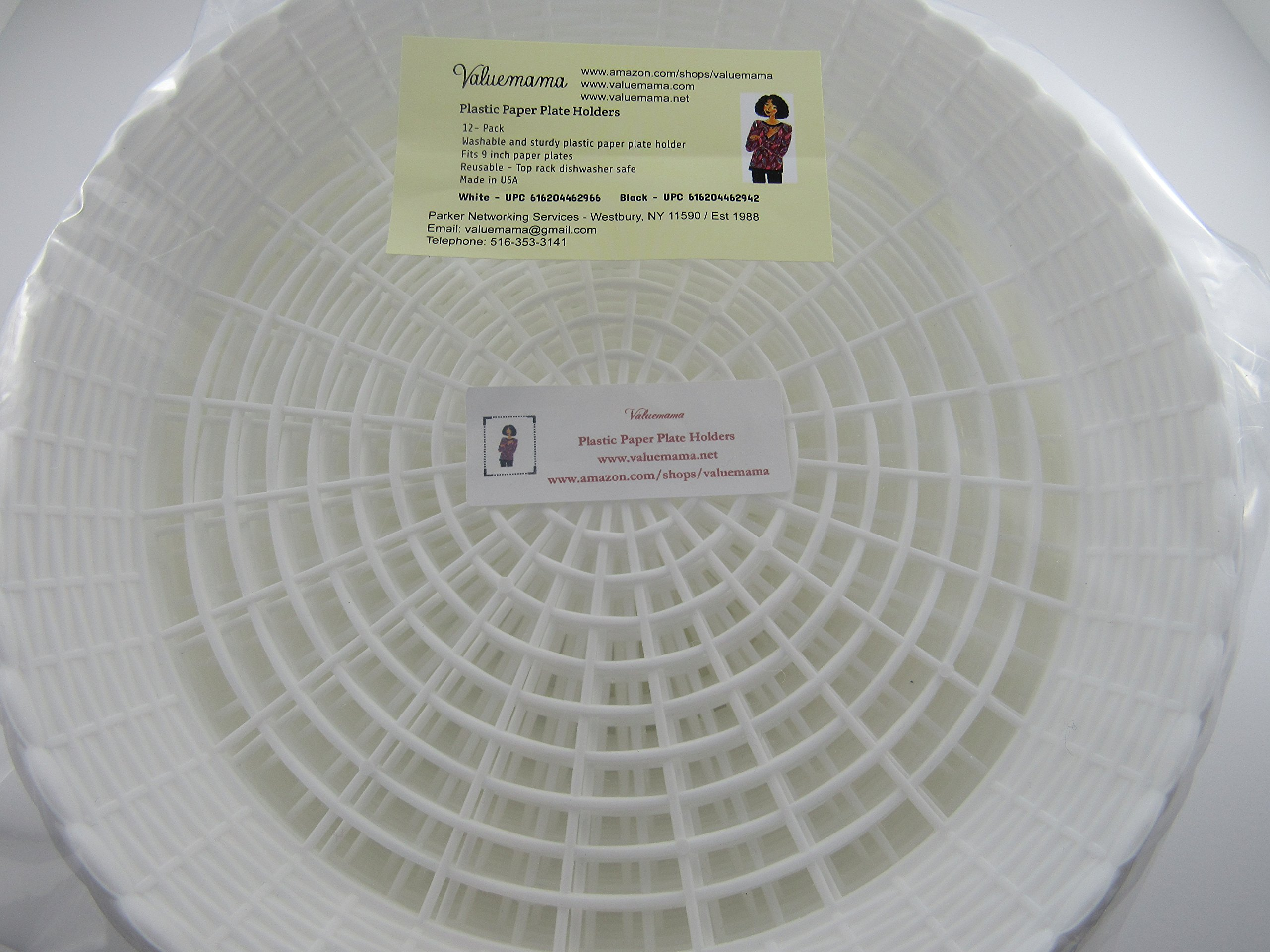 Paper Plate Holder White Plastic Wicker for 9  Plates Pack of 12 Reusable - WHT-001 u003c Disposable Plates Bowls u0026 Cutlery u003c Health u0026 Household - TIBS & Paper Plate Holder White Plastic Wicker for 9