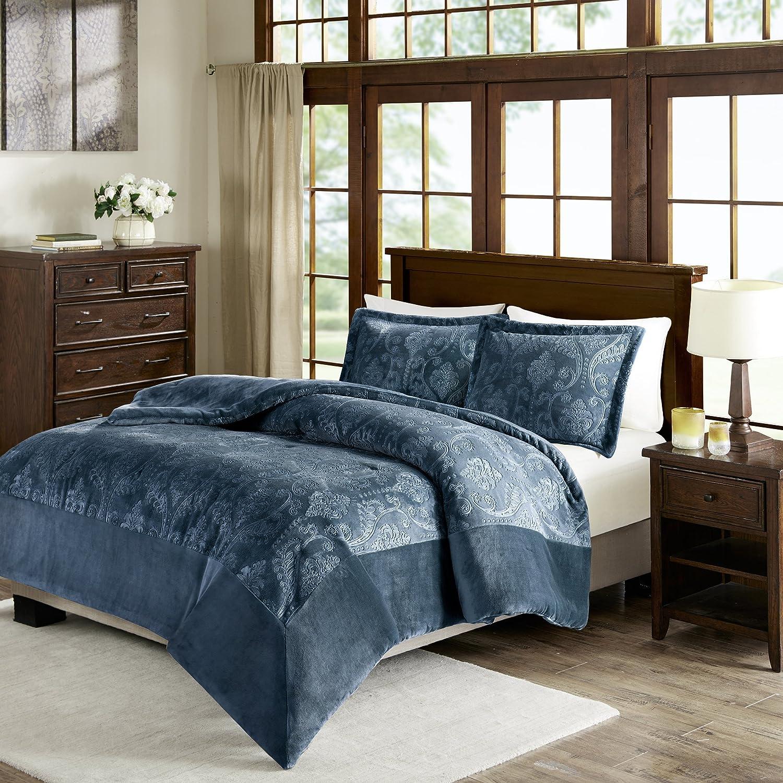 Kramer Textured Plush Comforter Mini Set Blue King//Cal King Premier Comfort BASI10-0467