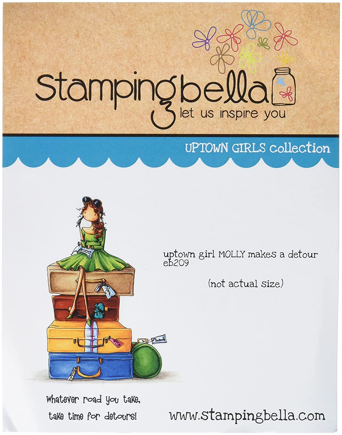6.5 x 4.5 Stamping Bella Uptown Girl Molly Makes A Detour Cling Rubber Stamp
