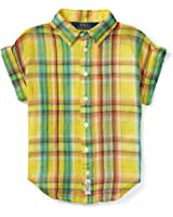 Ralph Lauren Girls' 7-16 Short Sleeve Yellow Plaid Button Down Shirt